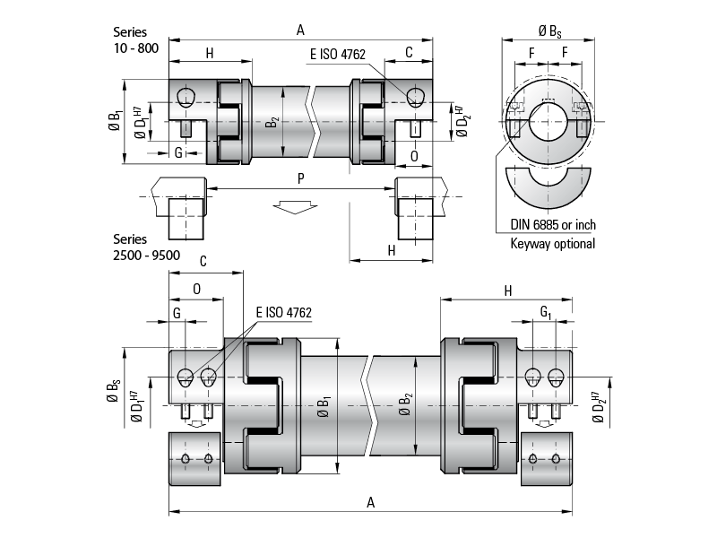 3 view drawing of coupling